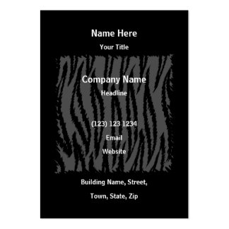 Modelo blanco y negro de la impresión del tigre tarjetas de visita grandes