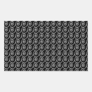 Modelo blanco y negro de la señal de Curlie Pegatina Rectangular