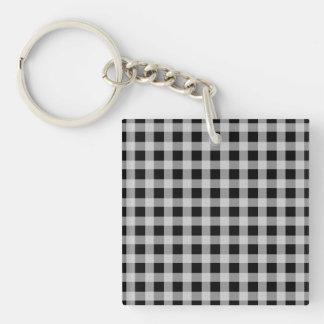 Modelo blanco y negro de la tela escocesa del llavero cuadrado acrílico a una cara