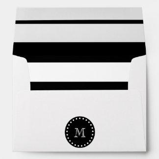 Modelo blanco y negro de las rayas, monograma negr sobre