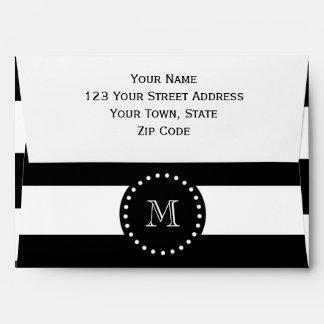 Modelo blanco y negro de las rayas, monograma sobres