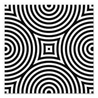 Modelo blanco y negro de los círculos concéntricos fotografias