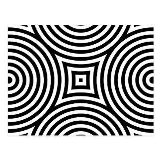 Modelo blanco y negro de los círculos concéntricos postales