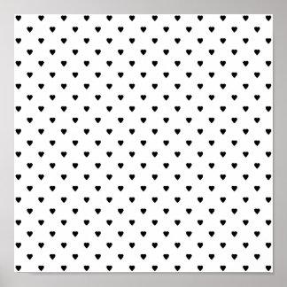 Modelo blanco y negro de los corazones póster