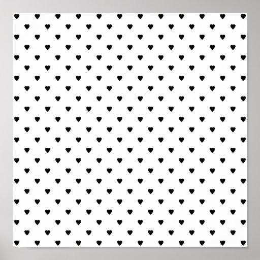 Modelo blanco y negro de los corazones póster | Zazzle