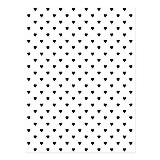 Modelo blanco y negro de los corazones tarjeta postal | Zazzle
