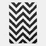 Modelo blanco y negro de los galones del zigzag toalla de mano