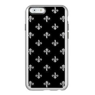 Modelo blanco y negro de lujo de la flor de lis funda para iPhone 6 plus incipio feather shine
