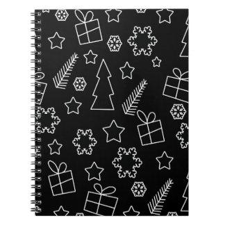 Modelo blanco y negro de Navidad Libreta Espiral