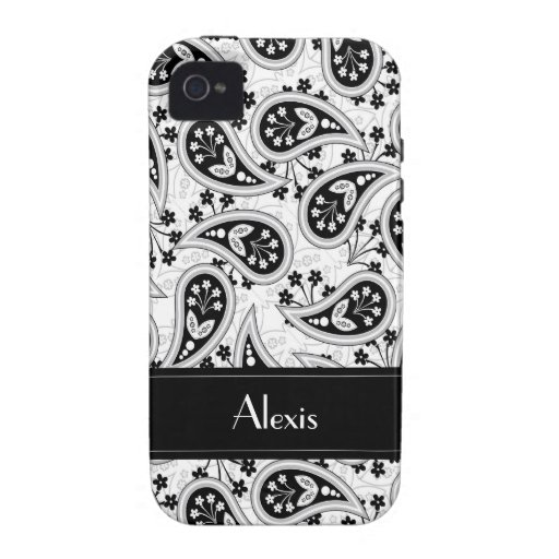 Modelo blanco y negro de Paisley Case-Mate iPhone 4 Carcasa