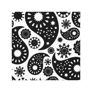 Modelo blanco y negro de Paisley Impresiones De Lienzo