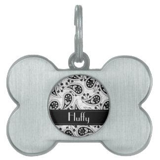 Modelo blanco y negro de Paisley Placa De Nombre De Mascota