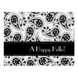 Modelo blanco y negro de Paisley Tarjetas Postales