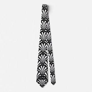 Modelo blanco y negro del art déco del vintage corbata personalizada