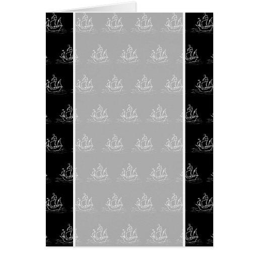 Modelo blanco y negro del barco pirata tarjeta