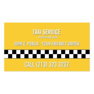 Modelo blanco y negro del conductor de taxi tarjetas de visita