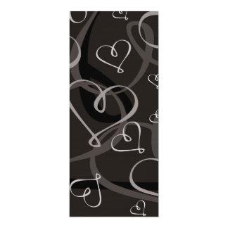 """Modelo blanco y negro del corazón invitación 4"""" x 9.25"""""""