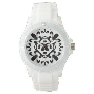 Modelo blanco y negro del damasco antiguo elegante reloj de mano