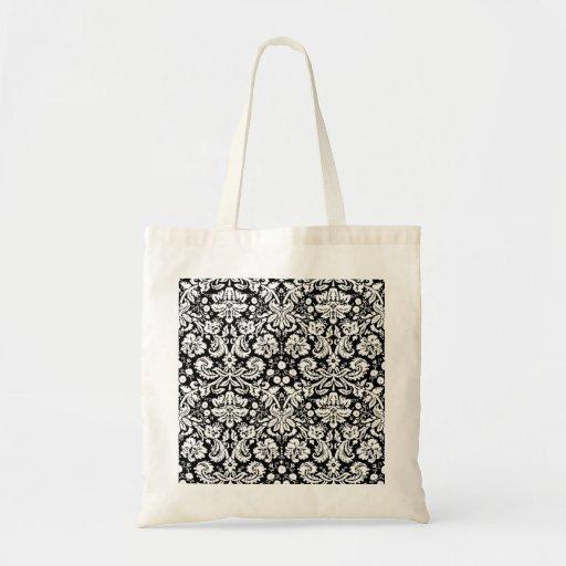 Modelo blanco y negro del damasco bolsas de mano