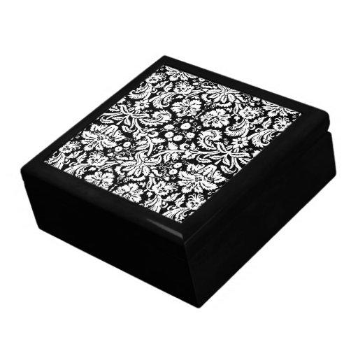 Modelo blanco y negro del damasco caja de recuerdo