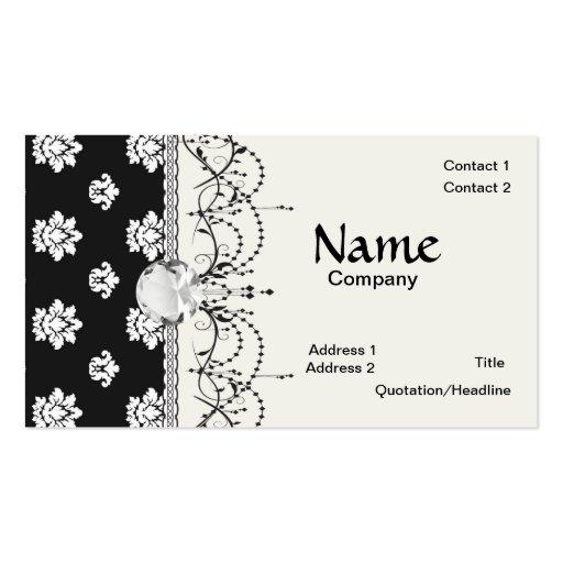 modelo blanco y negro del damasco del flourish tarjeta de visita