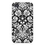 Modelo blanco y negro del damasco iPhone 4 cobertura