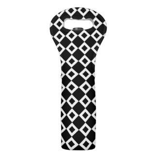 Modelo blanco y negro del diamante bolsas para botella de vino