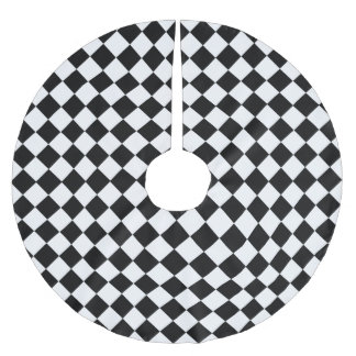 Modelo blanco y negro del diamante de Shirley Falda Para Arbol De Navidad De Poliéster