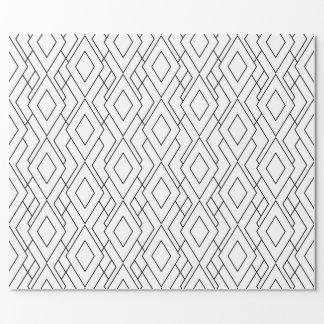 Modelo blanco y negro del diamante del art déco papel de regalo