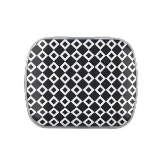Modelo blanco y negro del diamante latas de dulces