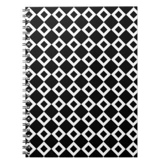 Modelo blanco y negro del diamante libretas espirales
