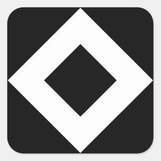 Modelo blanco y negro del diamante pegatina cuadradas personalizada
