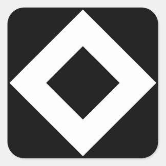 Modelo blanco y negro del diamante calcomanías cuadradas personalizadas