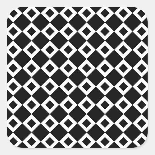 Modelo blanco y negro del diamante pegatina cuadrada