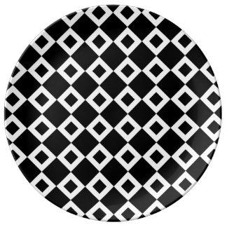 Modelo blanco y negro del diamante platos de cerámica