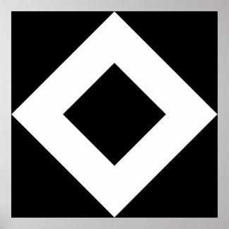 Modelo blanco y negro del diamante posters