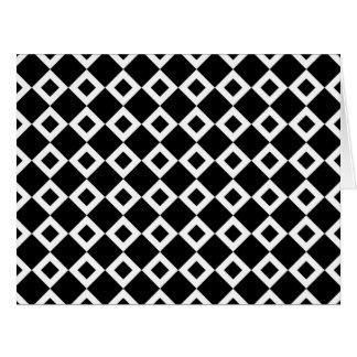Modelo blanco y negro del diamante tarjeta de felicitación grande