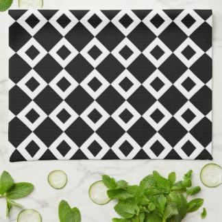 Modelo blanco y negro del diamante toalla de cocina