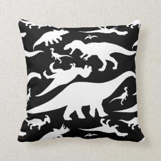 Modelo blanco y negro del dinosaurio cojín