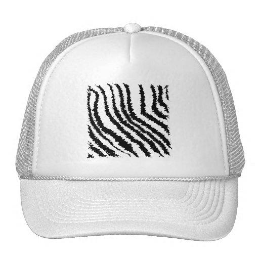 Modelo blanco y negro del estampado de zebra gorras de camionero