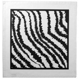 Modelo blanco y negro del estampado de zebra servilleta imprimida