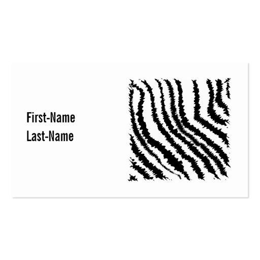 Modelo blanco y negro del estampado de zebra tarjeta de visita