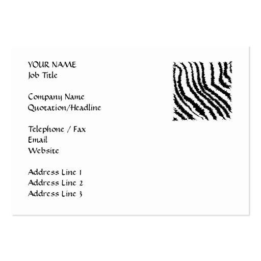 Modelo blanco y negro del estampado de zebra tarjetas de visita