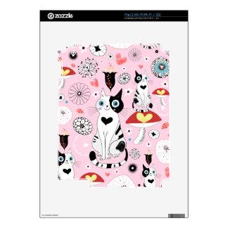 Modelo blanco y negro del gato para los amantes calcomanía para iPad 2