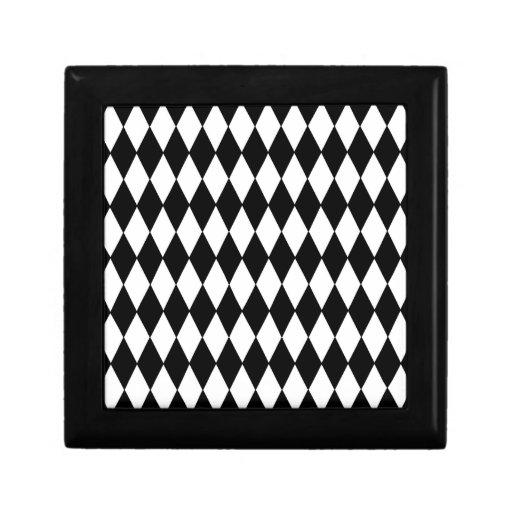 Modelo blanco y negro del Harlequin del diamante Caja De Recuerdo