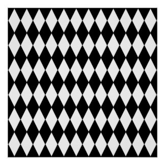 Modelo blanco y negro del Harlequin del diamante Poster