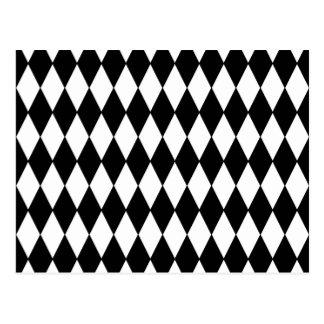 Modelo blanco y negro del Harlequin del diamante Tarjetas Postales