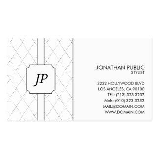 Modelo blanco y negro del monograma tarjetas de visita