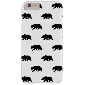 Modelo blanco y negro del oso grizzly funda de iPhone 6 slim