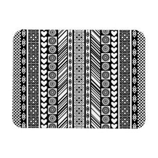 Modelo blanco y negro del paño de Kente del Rectangle Magnet